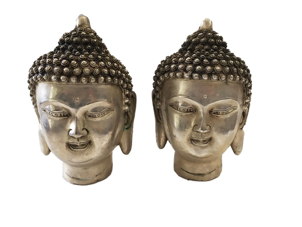 Bronze Plated Silver Buddha Heads - a Pair 5.5