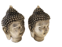 "Load image into Gallery viewer, Bronze Plated Silver Buddha Heads - a Pair 5.5"" H"