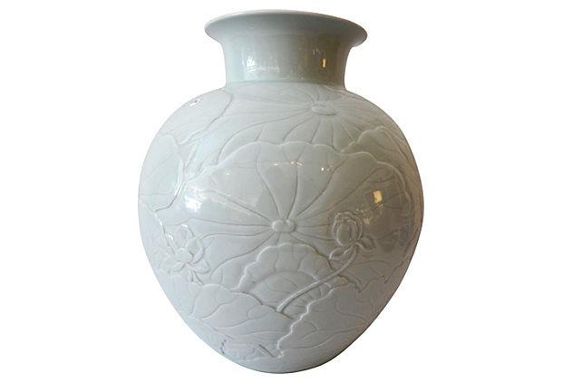 Superb Large Hand-Carved Celadon Moon Vase w/lotus 15.5