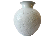 "Load image into Gallery viewer, Superb Large Hand-Carved Celadon Moon Vase w/lotus 15.5"" H"