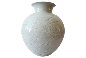 "Superb Large Hand-Carved Celadon Moon Vase w/lotus 15.5"" H"
