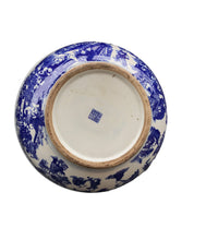 "Load image into Gallery viewer, # 172c Chinoiserie Large Blue & White Porcelain Bowl 16.5"" D"
