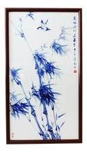 "Load image into Gallery viewer, Superb Porcelain Wall Hanging Plaque w/ bird  /bamboo 33.5""h by 19"" w"
