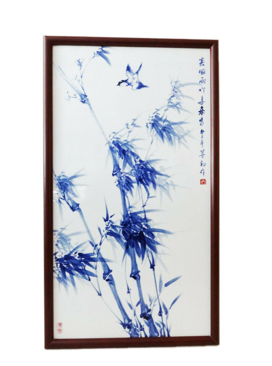 Superb Porcelain Wall Hanging Plaque w/ bird  /bamboo 33.5
