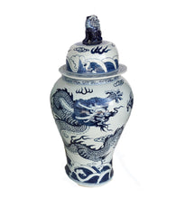 Load image into Gallery viewer, Chinoiserie Blue& White Porcelain Ginger Jar Dragon & Phoenix