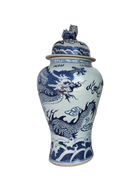 Chinoiserie Blue& White Porcelain Ginger Jar Dragon & Phoenix