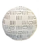 "Load image into Gallery viewer, Custom Made African Round Malian Mud Cloth Ottoman 17"" H"