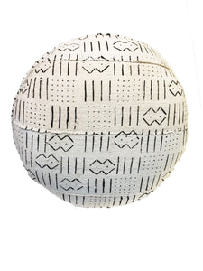 "Custom Made African Round Malian Mud Cloth Ottoman 17"" H"