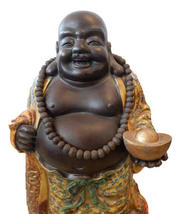 "Famille Jaune Porcelain Happy/Laughing Buddha 30"" H"