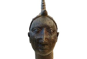 "Superb old LG Benin Bronze Brass Head of Oba Nigeria African 17"" h"