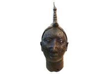 "Load image into Gallery viewer, Superb old LG Benin Bronze Brass Head of Oba Nigeria African 17"" h"