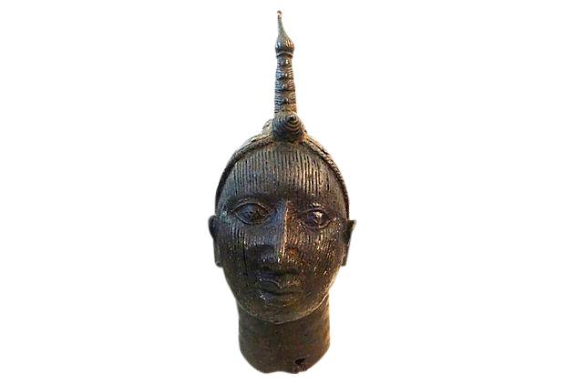 Superb old LG Benin Bronze Brass Head of Oba Nigeria African 17
