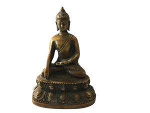 "#685 Old Bronze Earth Touching Buddha 4"" H"