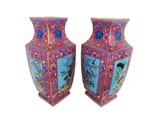 Load image into Gallery viewer, #3202Chinoiserie Porcelain Famille Rose Vases Set/2