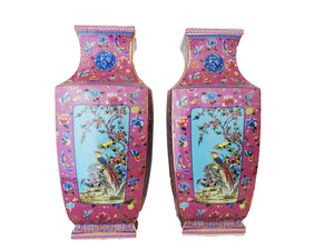 #3202Chinoiserie Porcelain Famille Rose Vases Set/2