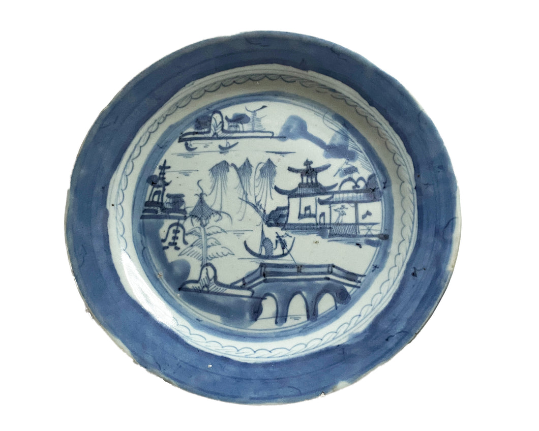 19th Century Chinese Canton Blue and White Porcelain Plate 9.75