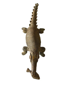 "Bronze AfricanTribal/ Ashanti Akan Of a CROCODILE I Coast 1.75"" h by 11.25"" w"
