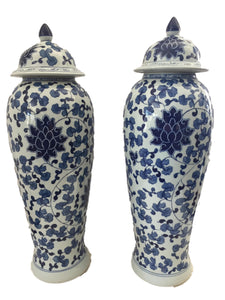 "Tall B&w Chinoiserie Porcelain Ginger Jars - a Pair 23"" H"