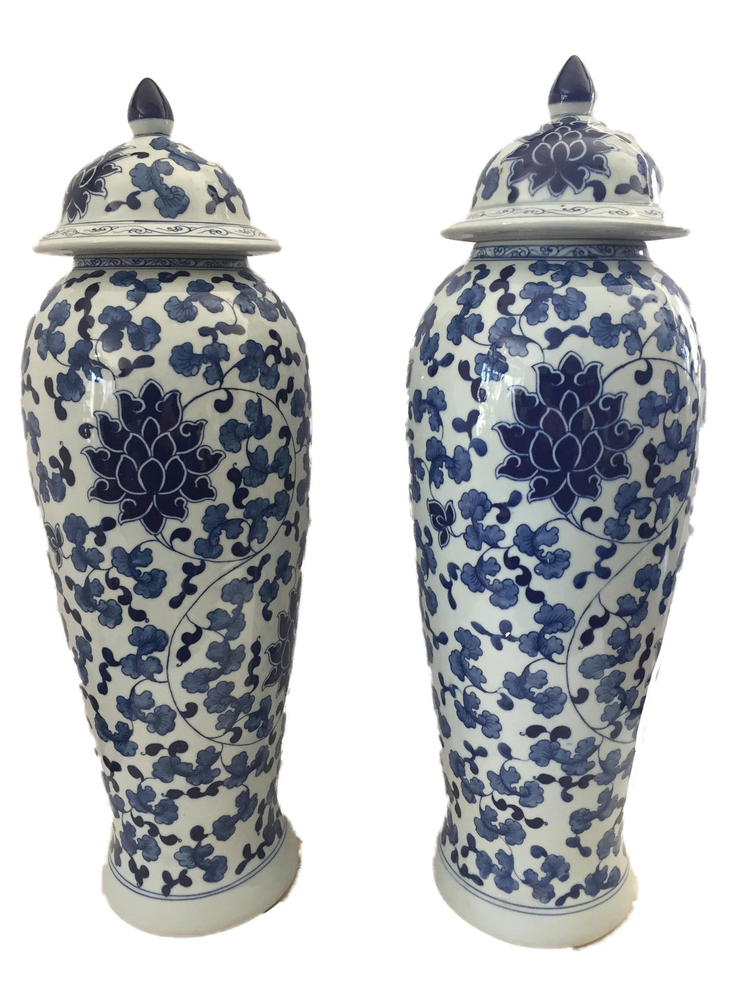 Tall B&w Chinoiserie Porcelain Ginger Jars - a Pair 23