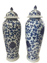 "Load image into Gallery viewer, Tall B&w Chinoiserie Porcelain Ginger Jars - a Pair 23"" H"