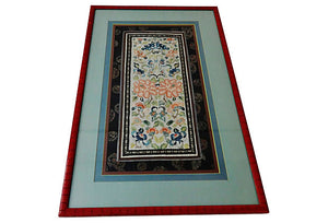 Superb Framed Chinese Silk hand embroidery Panel 19th Century