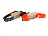SM100 solar lights with black head-strap and orange head-strap