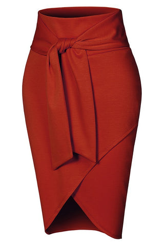 Burnt Orange Self Tie Pencil Skirt