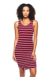 Burgundy & White Striped Round Hem Dress
