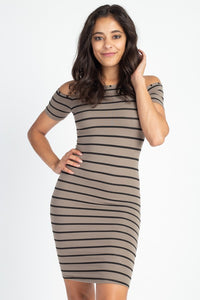 Taupe & Black Striped Open Shoulder Dress