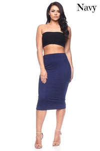 Solid Midi Skirt (Snug Fit)