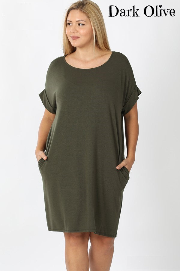 Solid Color Knee Length Cuffed Sleeve Round Neck Dress with Pockets