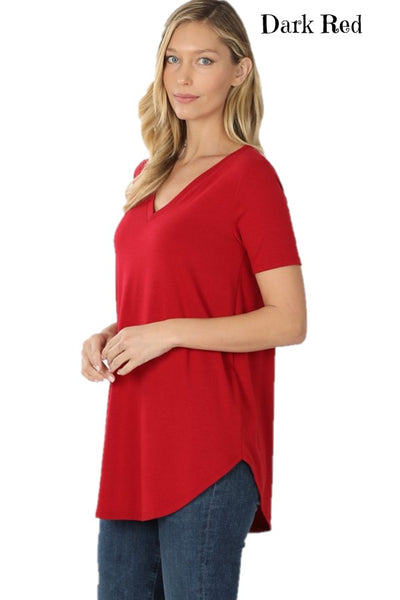 Solid Color Short Sleeve V-Neck Round Hem Relaxed Fit Top