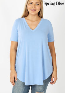 Solid Color Short Sleeve V-Neck Relaxed Fit Top with Round Hem
