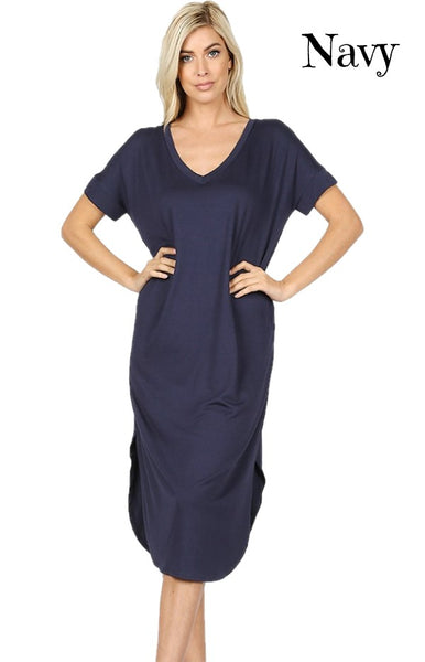 Solid Color V-Neck Short Sleeve Round Hem Dress with Side Slits & Pockets
