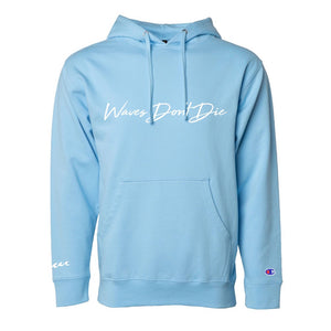 "AWAV™ ""Waves Don't Die"" Hoodie in Sky Blue"
