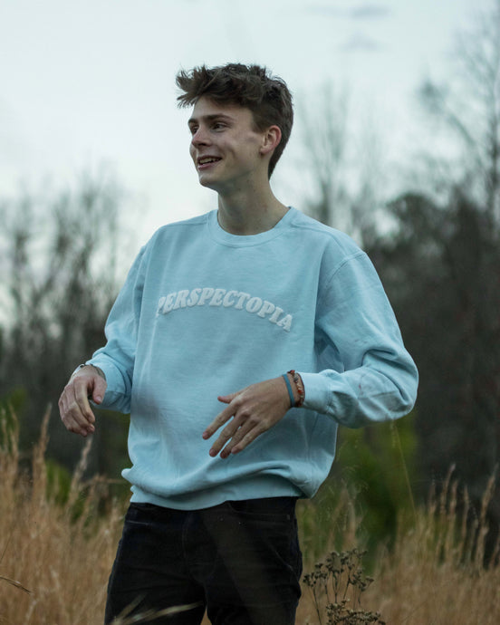 Light Blue Puff Print Crewneck