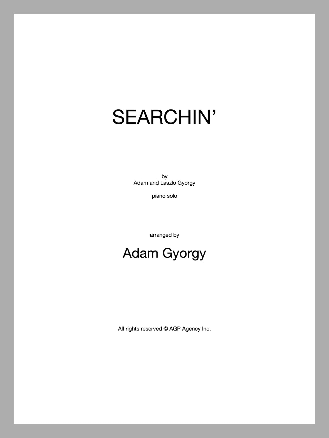 Searchin' - Sheet music