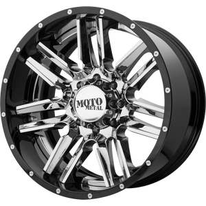 MOTO METAL MO202 CHROME CENTER W/ GLOSS BLACK MILLED LIP