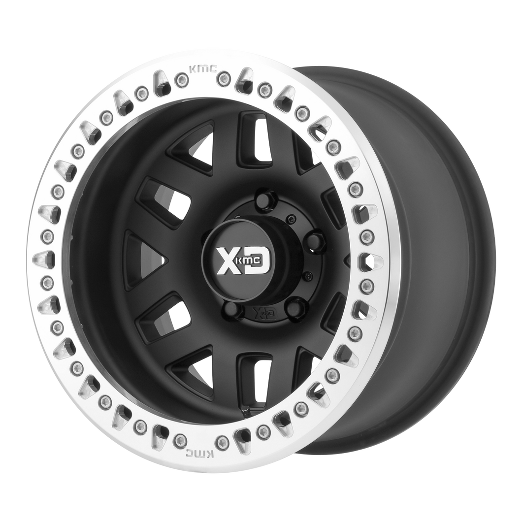 XD SERIES BY KMC WHEELS MACHETE CRAWL SATIN BLACK W/ MACHINED RING