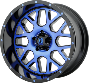 XD SERIES BY KMC WHEELS GRENADE SATIN BLACK MACH FACE W/ BLUE TINTED CLEAR COAT