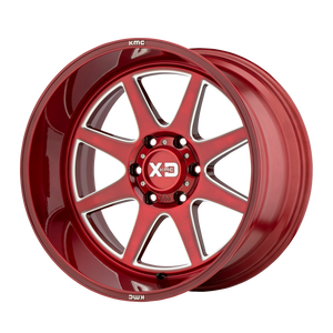 XD SERIES BY KMC WHEELS PIKE BRUSHED RED W/ MILLED ACCENTS