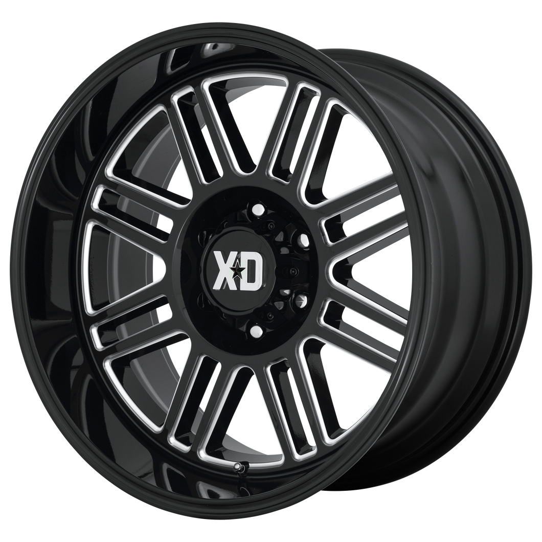 XD SERIES BY KMC WHEELS CAGE GLOSS BLACK MILLED