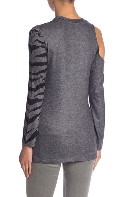 One Shoulder Cutout Tiger Sweater - hokiis