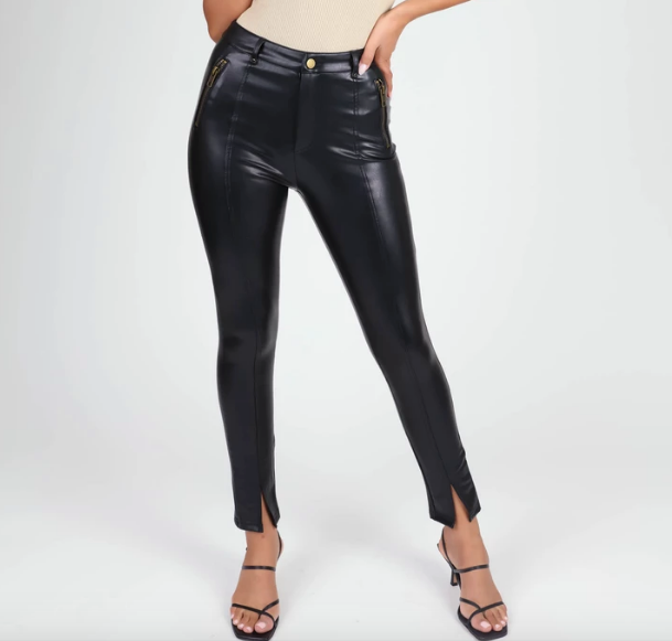 Vegan Leather Moto Pants - hokiis