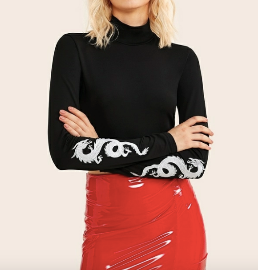 Dragon Print Cropped Turtleneck - hokiis