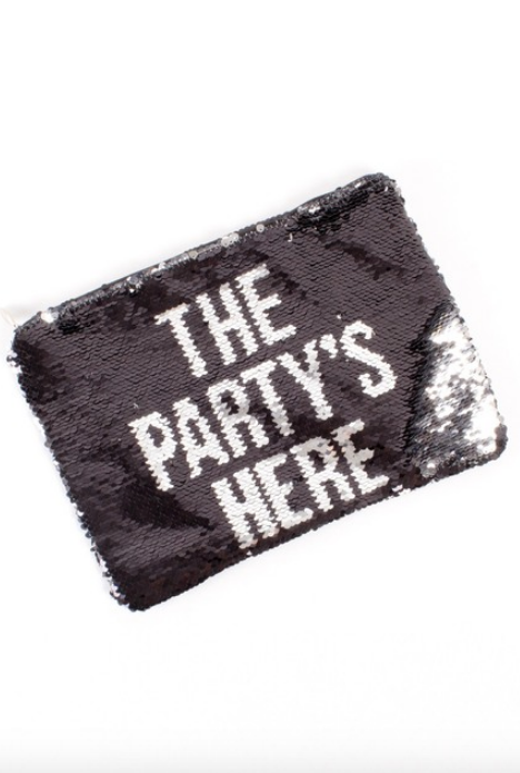 """The Party's Here"" Sequin Pouch - hokiis"
