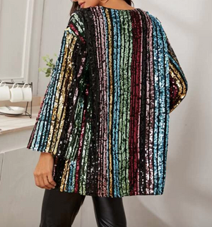 Rainbow Striped Sequins Cardigan - hokiis