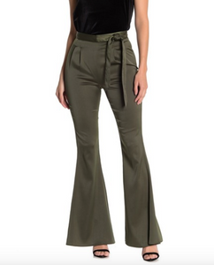 Satin High Waist Flared Pants - hokiis