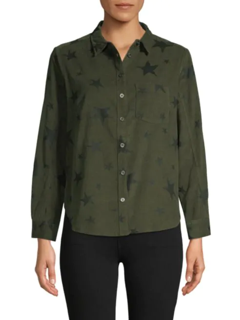 Star-Print Button-Down Shirt - hokiis