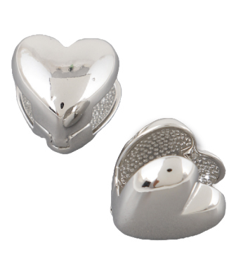 Heart Huggie Earrings, Silver